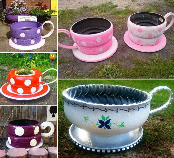 Cute Shaped Planters Made from Old Tires. Get the video tutorial