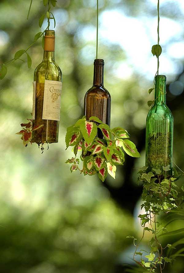 Hanging Wine Bottle Garden Pots.