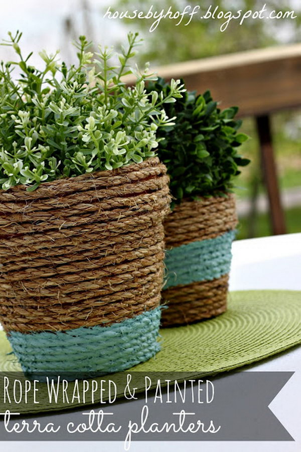 Rope wrapped Planter. Check out the direction