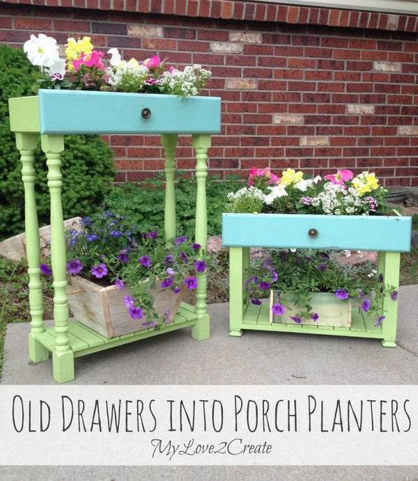 Old Drawers Turned into Porch Planters. Check out the tutorial