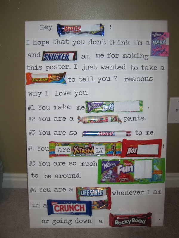 Valentines Candy Bar Poster for Him