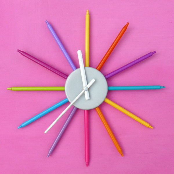 Color Markers Wall Clock. Get the instructions