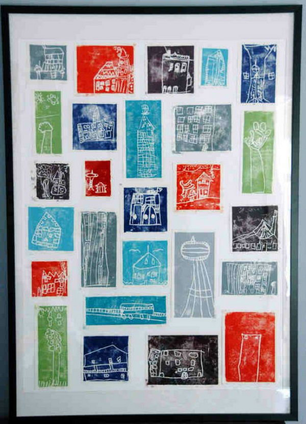Kids would be proud to have this block printing art on the wall