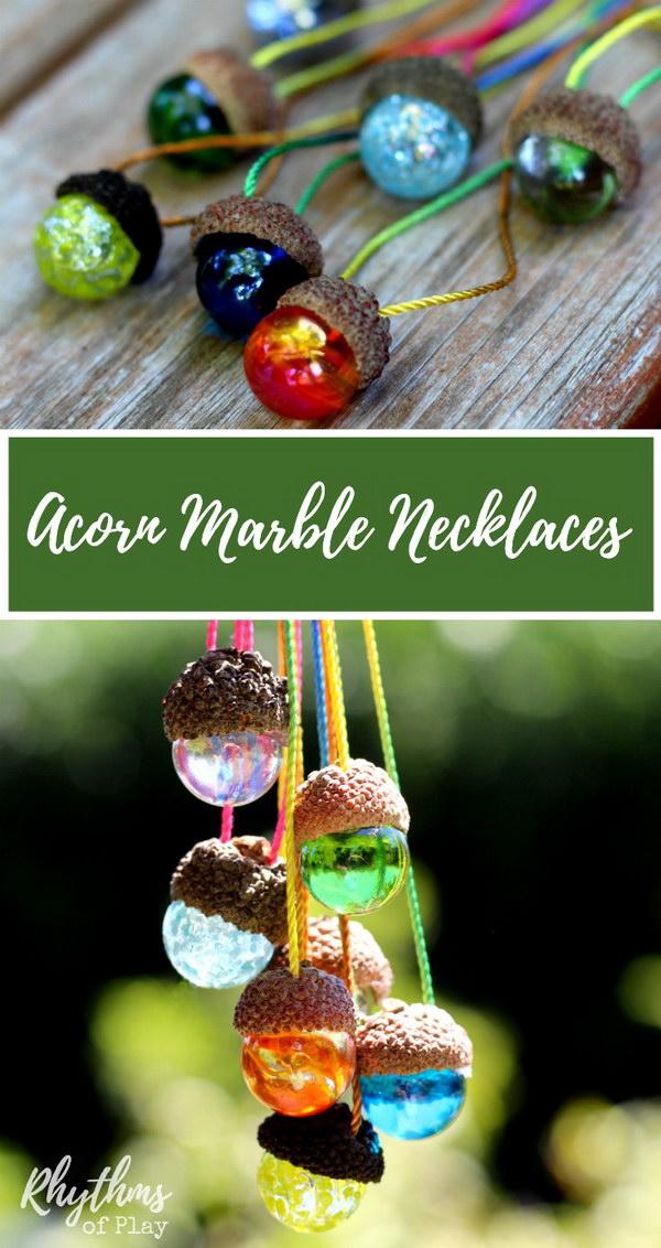 DIY Acorn Marble Necklace