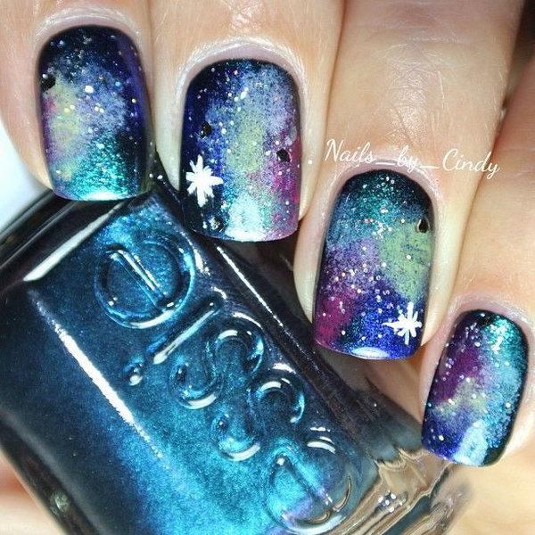 Deep Blue Galaxy Nails.