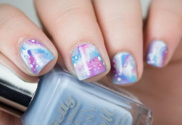Bold Pastel Galaxy Nail Art. See the tutorial