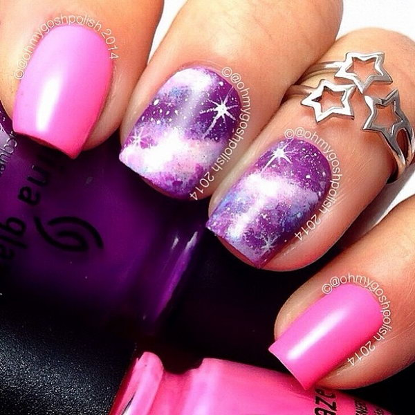 Pink and Purple Galaxy Nails.