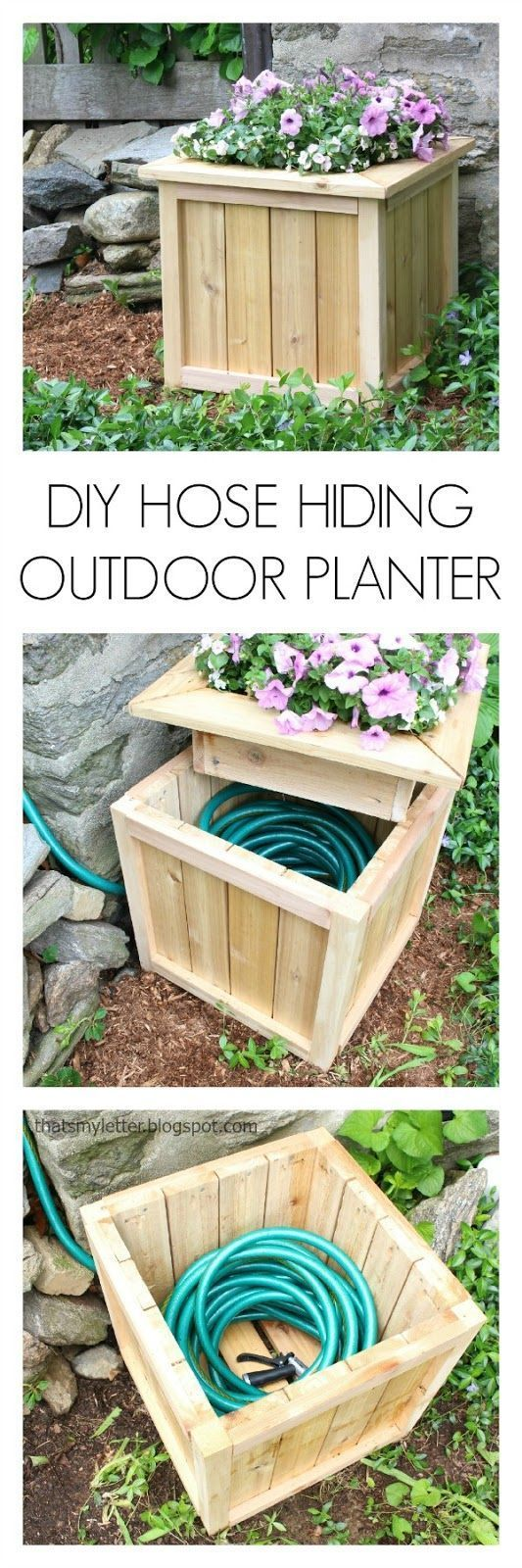 Make a Planter that Hides Your Hose. Get the full direction