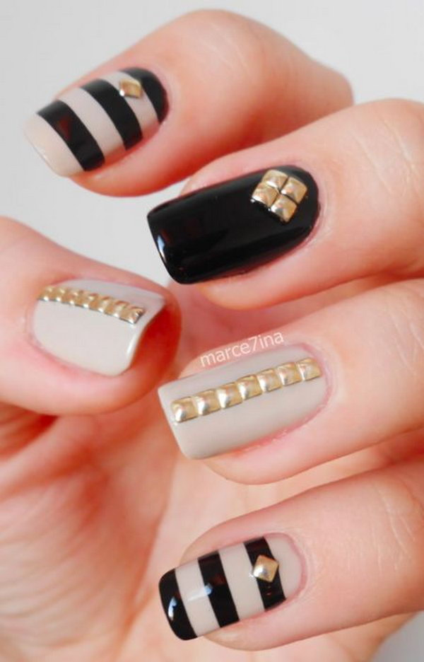 Gold Square Studded Nails. Such beautiful colors, cannot wait to try them!