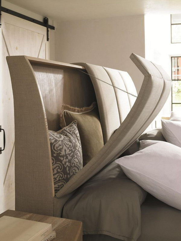 This Bed Has Hinged Headboard for Storage and Footboard Hide Your TV in.