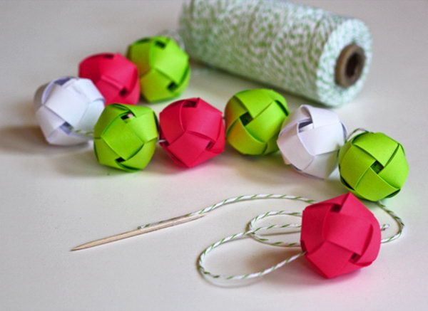 Woven Paper Balls Garland. See the details