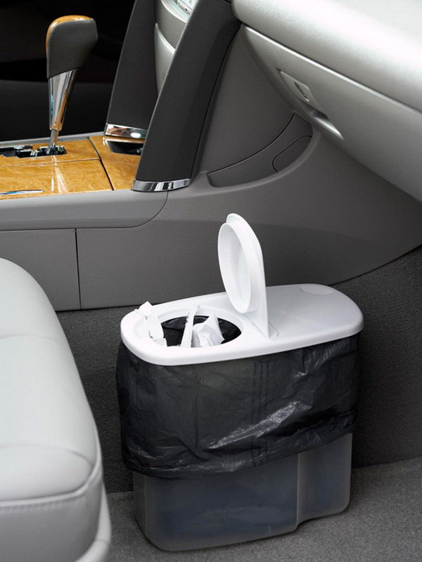 Convert a plastic cereal dispenser into a trash receptacle for your car.