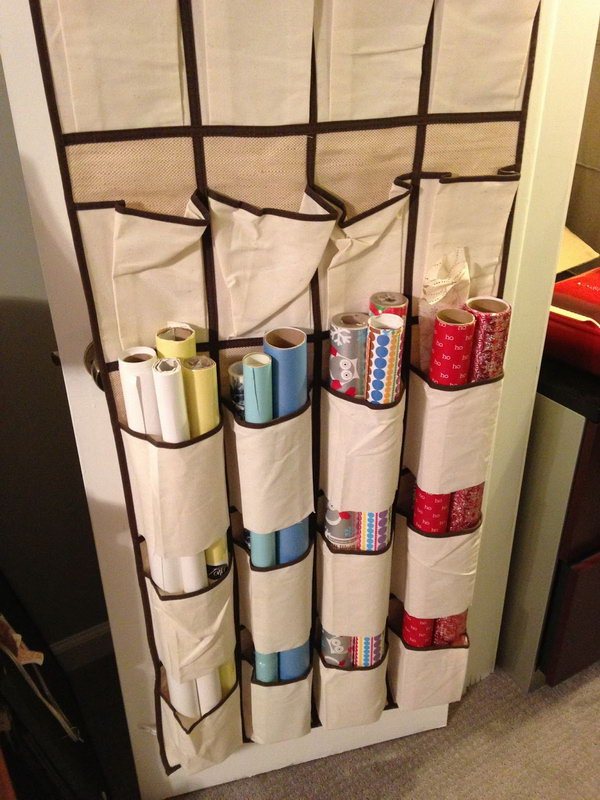 Cut the bottoms off the shoe pockets and use it as an organizer for wrapping paper.