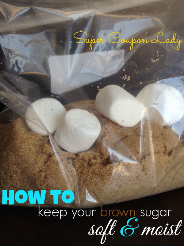 Keep brown sugar soft by storing with a couple of marshmallow.