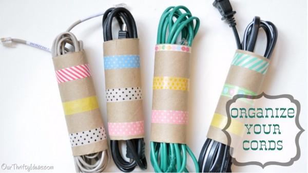 Organize Your Cords with Toilet Paper Roll
