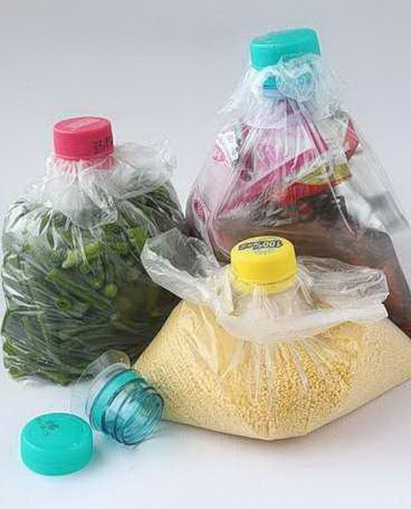 Recycle Plastic Bottles and Caps for Improving Plastic Bag Storage