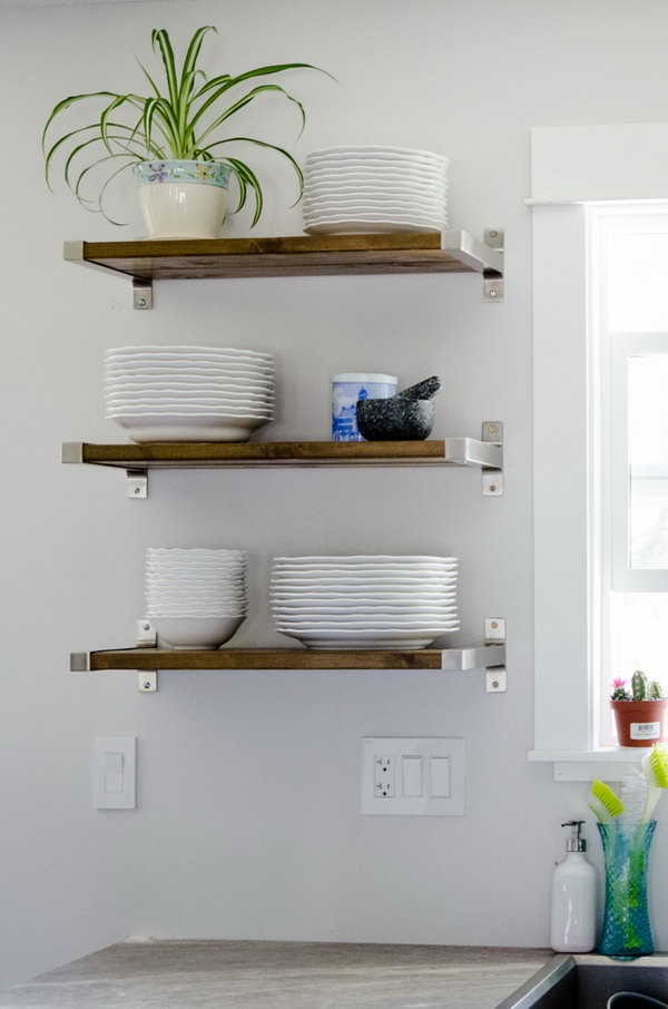 Open Kitchen Shelving With  Brackets from IKEA and the Perfect Piece of Wood. Check out the tutorial
