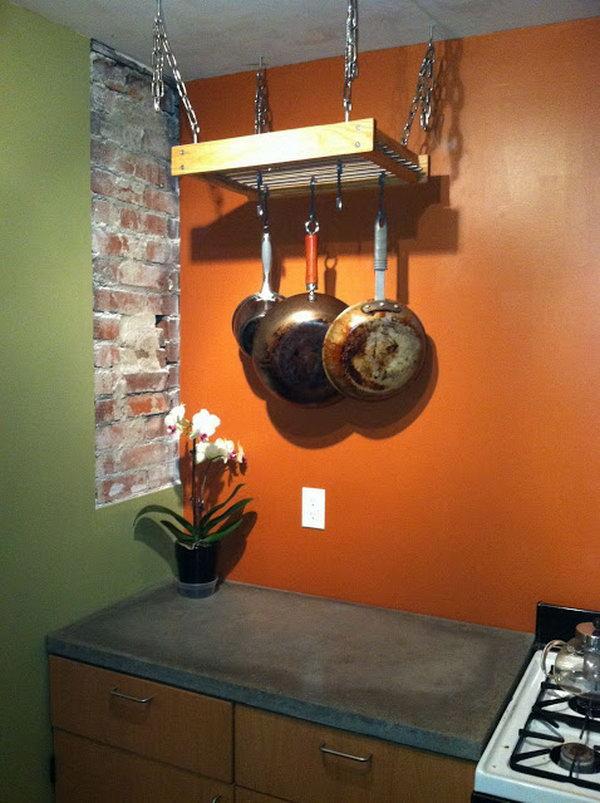 Simple Hanging Pot Rack Hack. Details