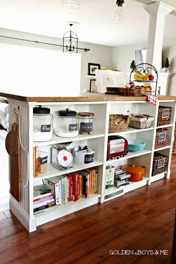 Bookshelves Turned Kitchen Island. Get the tutorial