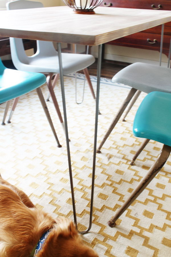 Modern and Personalized Dinning Room table with IKEA Hairpin Legs. Get the directions
