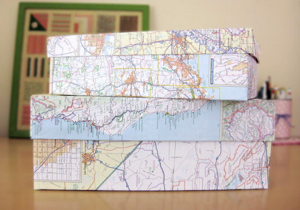 Store Your Crafts with These DIY Map Covered Shoe Boxes