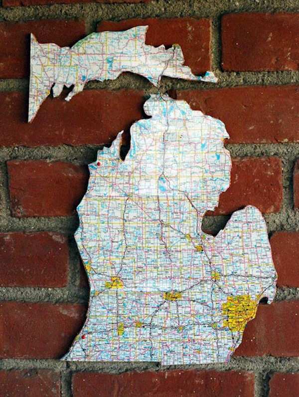 Recycled Road Map Cork Board
