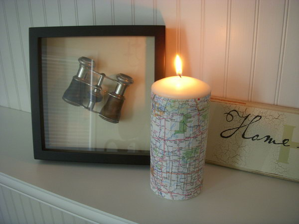 Pottery Barn Inspired Map Covered Candle