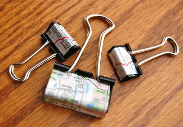 Binder Clips Covered in a Map