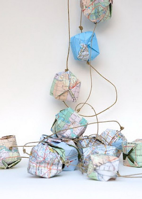 Turn Old Maps Into Globe Garlands