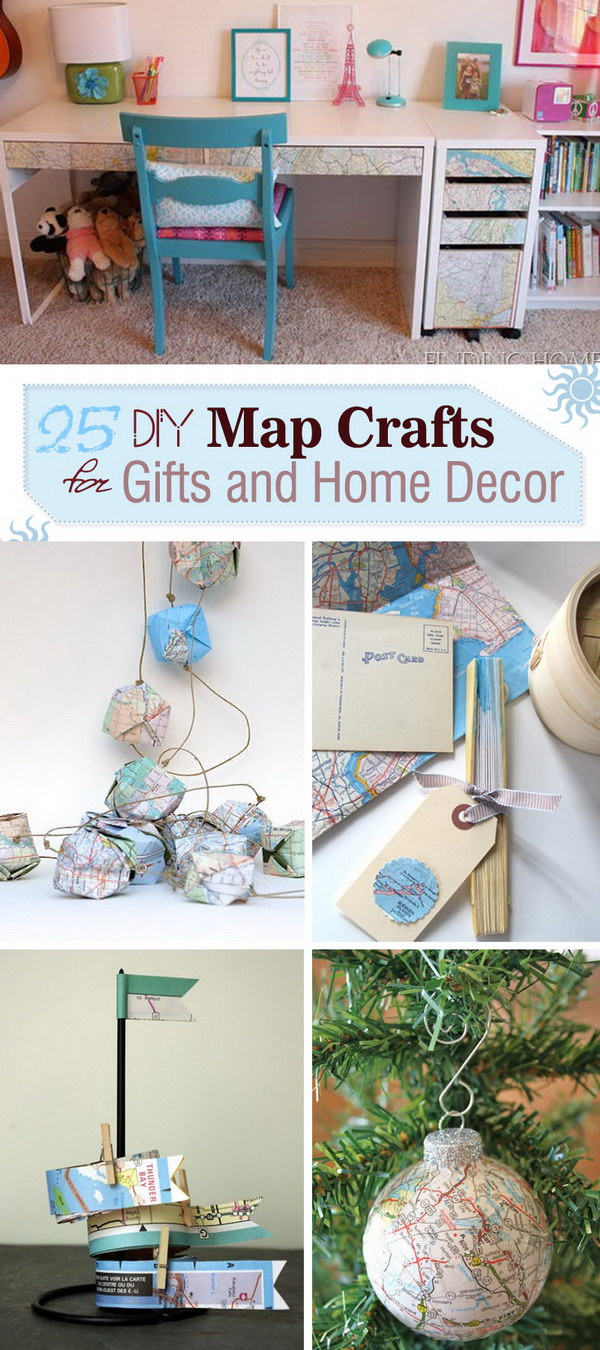 Lots of DIY Map Crafts for Gifts and Home Decor!