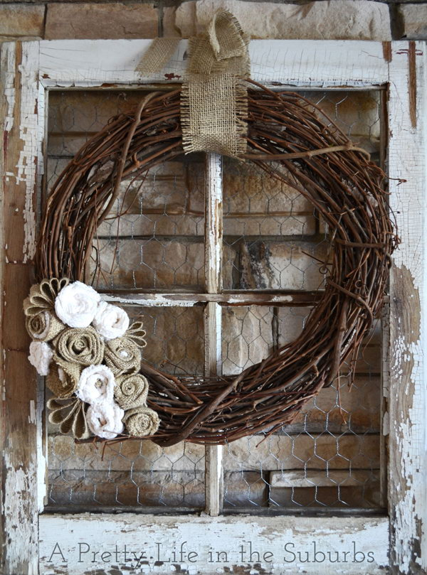 Lovely Autumn Wreath Made From Grapevine And Burlap!