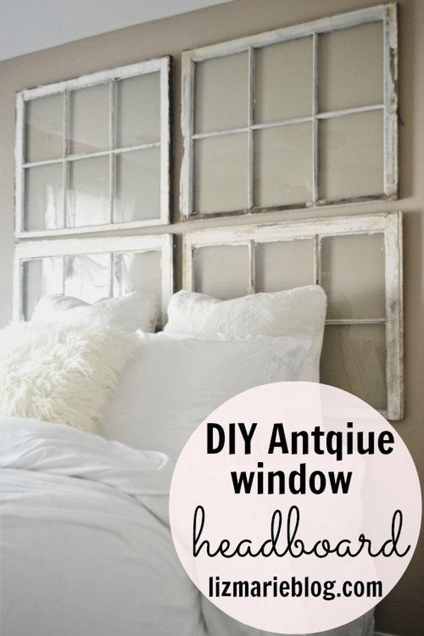DIY Antique Window Headboard.