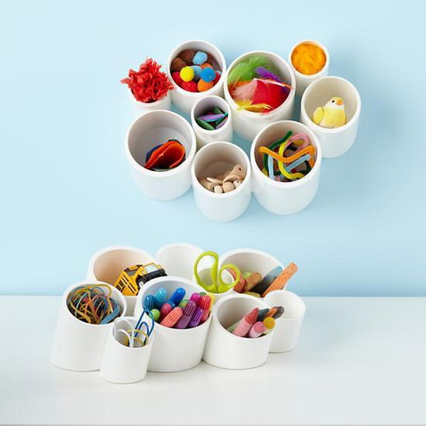 Make Desk Organizing Cups with PVC. See the tutorial