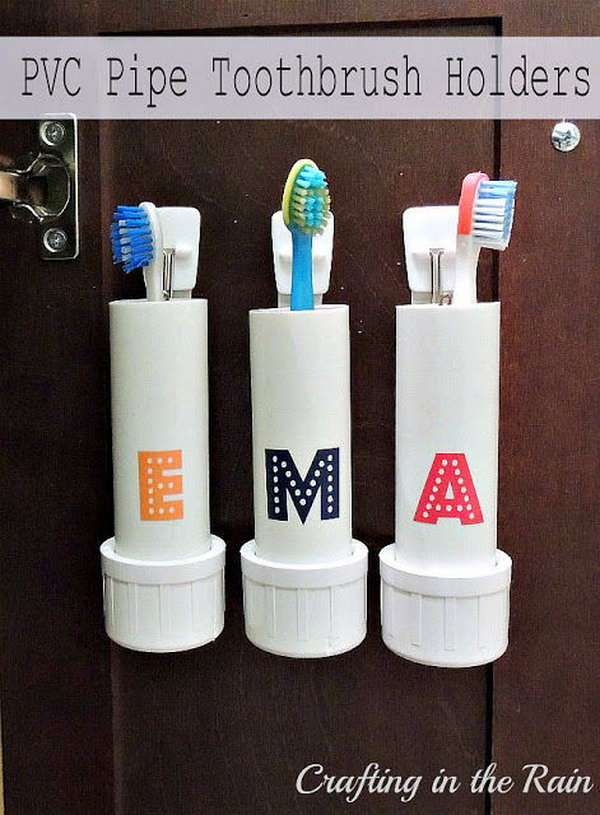 PVC Pipe Toothbrush Holders.