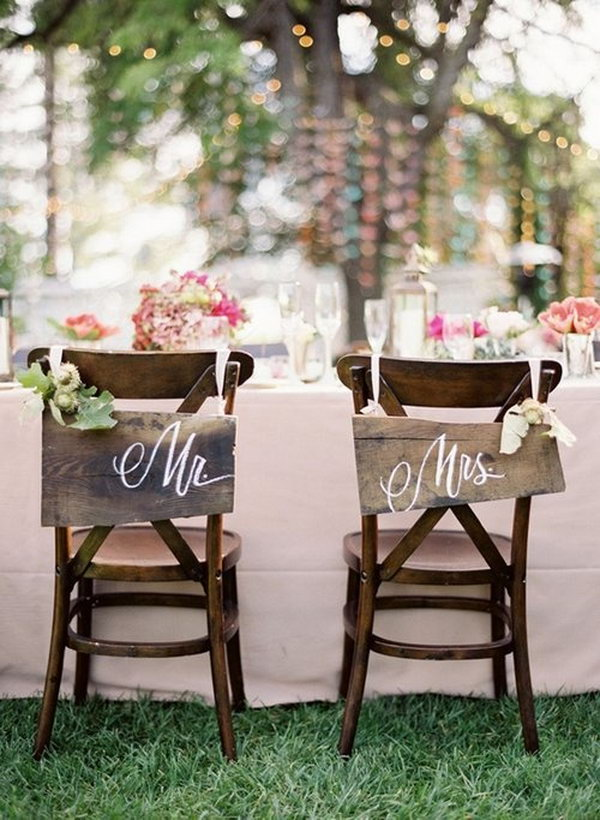 Rustic Wedding Chair Signs.