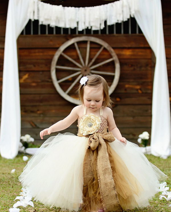 Country Dress with Burlap for Your Flower Girl.