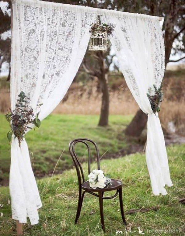 Photo Booth Backdrop With Lace Curtains.
