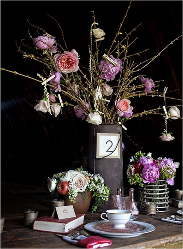 Rustic Water Pail Centerpiece.