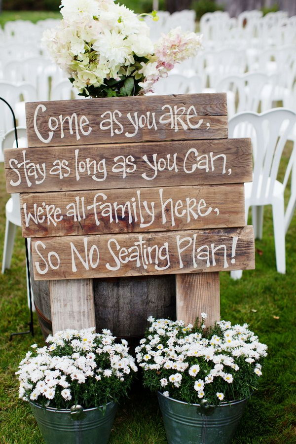 Lovely Rustic Wedding Ceremony Sign.
