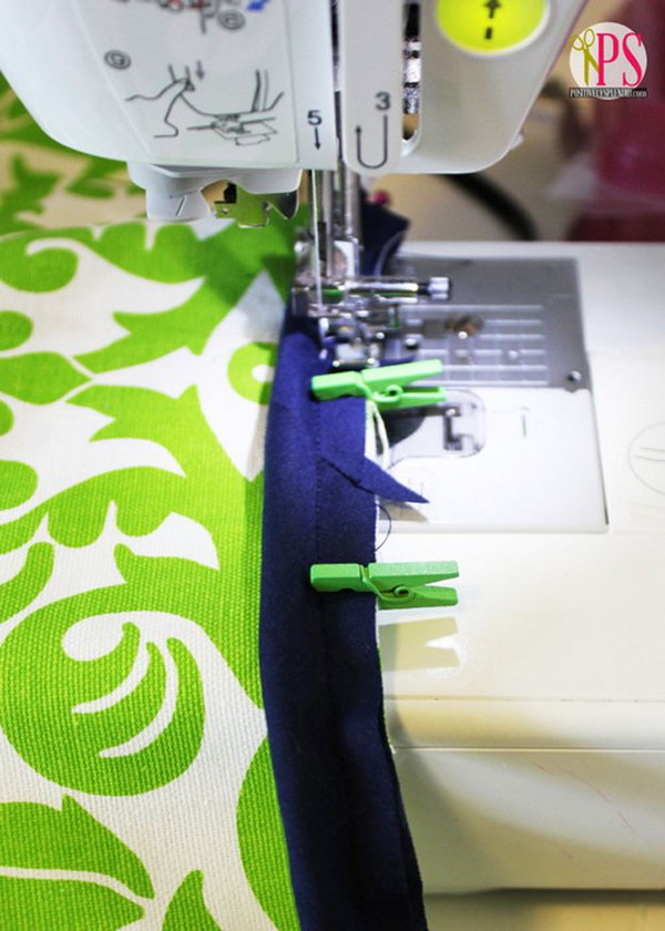 Use mini clothespins instead of straight pins when sewing bindings and piping