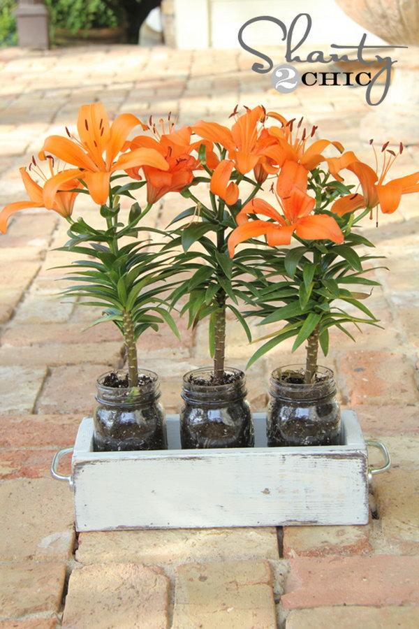 DIY Mason Jar Planter Box.