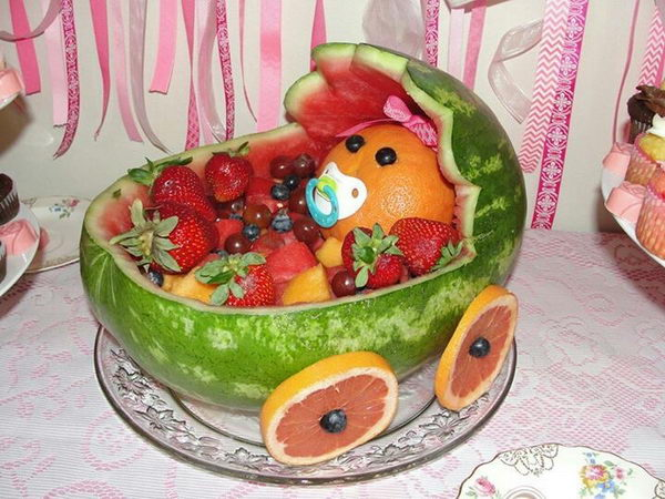 Watermelon Baby Carriage for Baby shower.