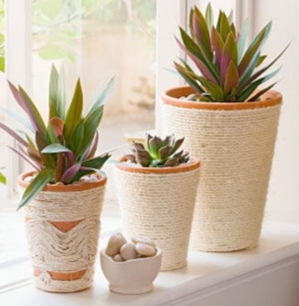 Rope wrapped Pots. See more