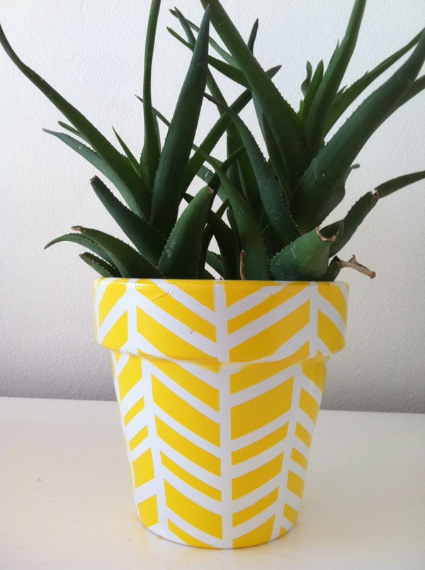 Yellow Herringbone Planter. Check out the steps