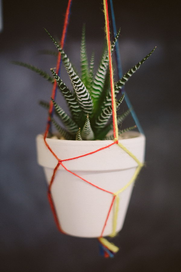 Colorful Macrame Pot. See directions
