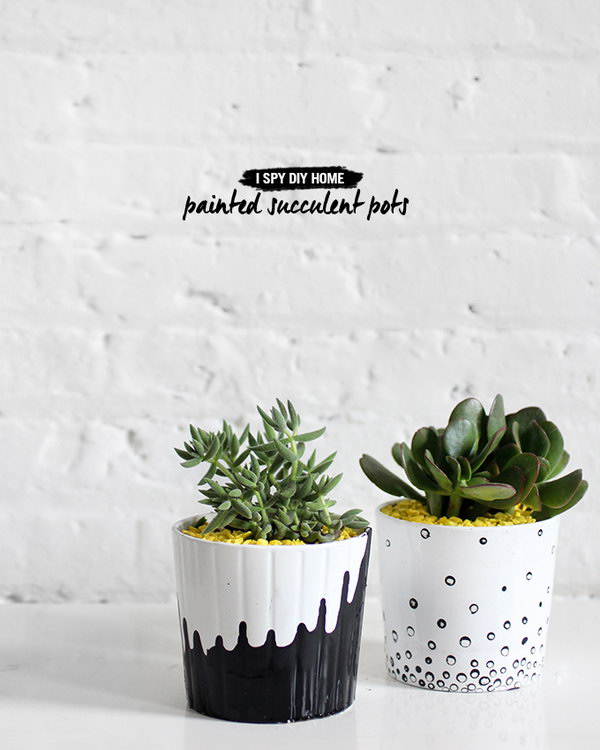Black and White Painter Pots. See how to do it