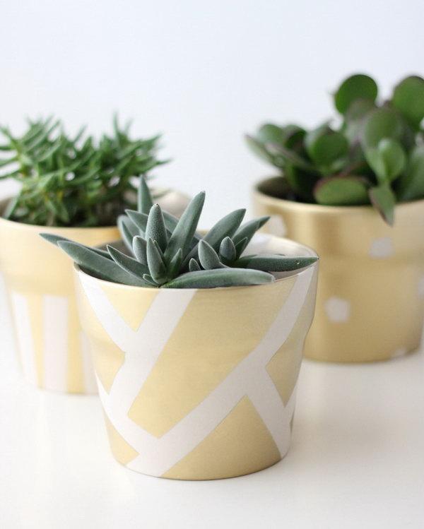 Gold Patterned Succulent Pot. Get the tutorial