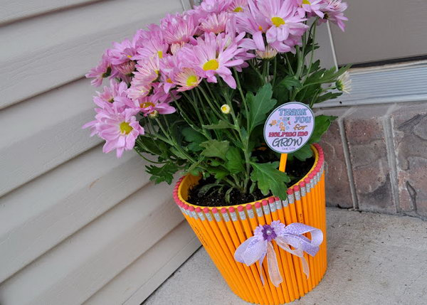 Pencil Wrapped Flowerpot. See how