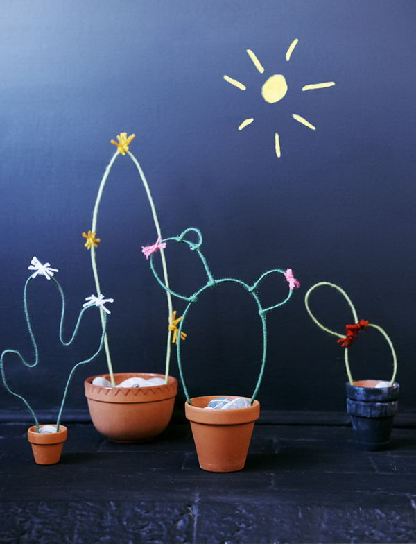 DIY Wire Cacti Garden. Check out the steps