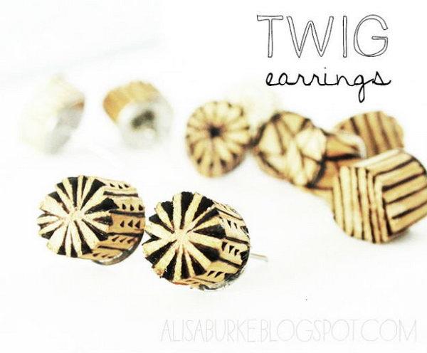 DIY Twig Earrings